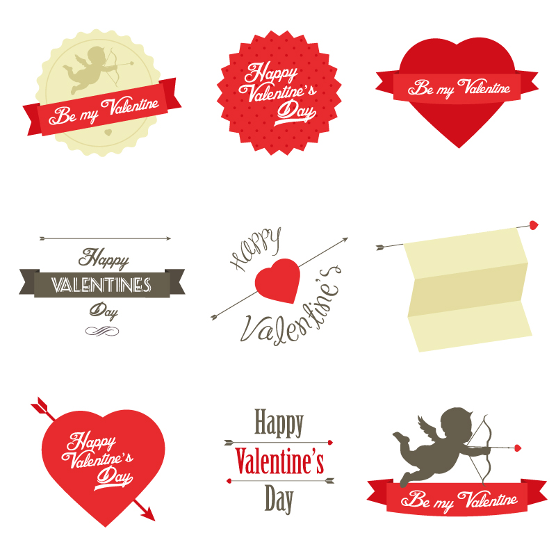 Valentine's Day 2014 Stickers Vector