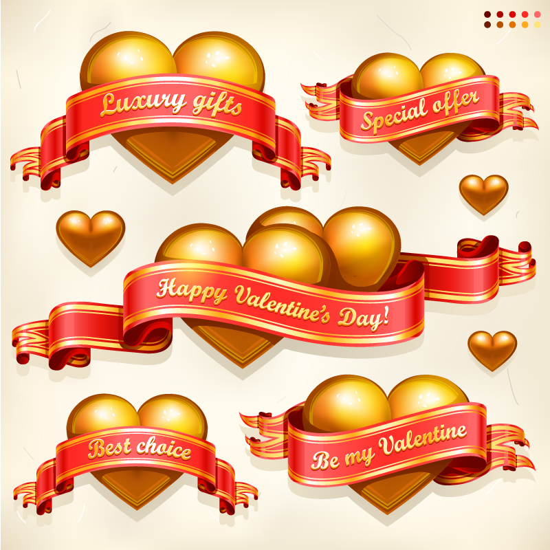 Valentine's Day Heart Ribbons Vector