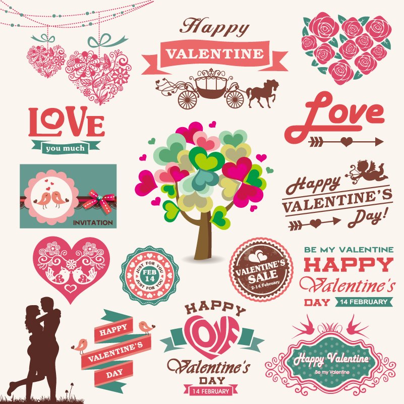 Valentine's Day Icons Collection Vector