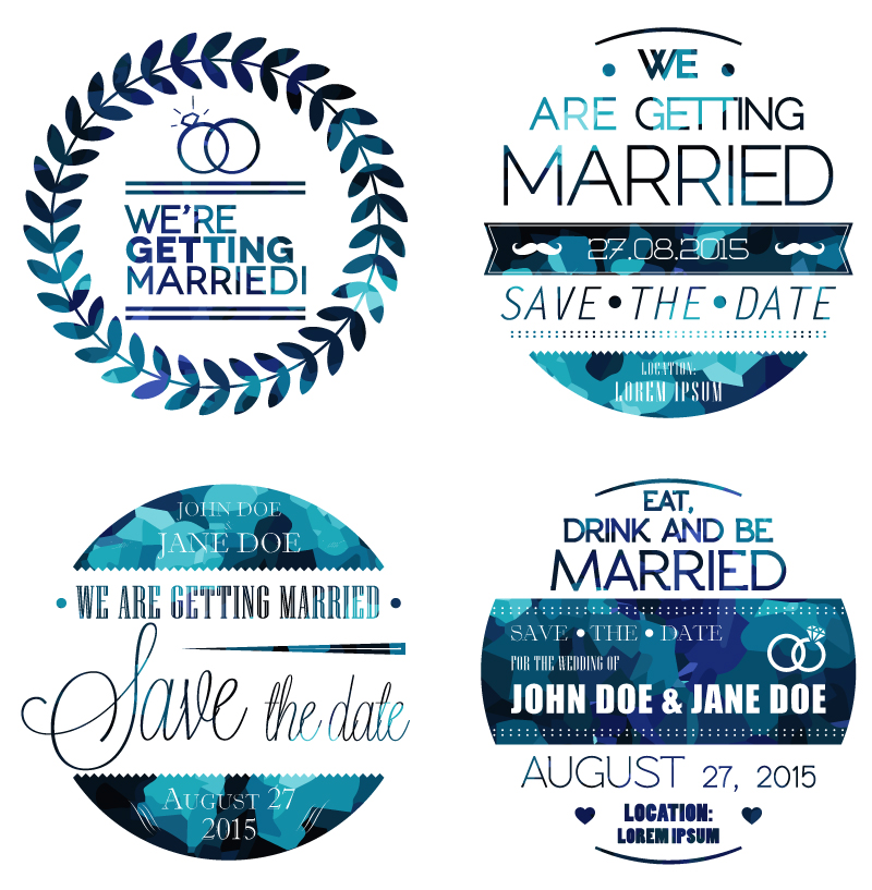 Wedding Day Blue Stickers Vector