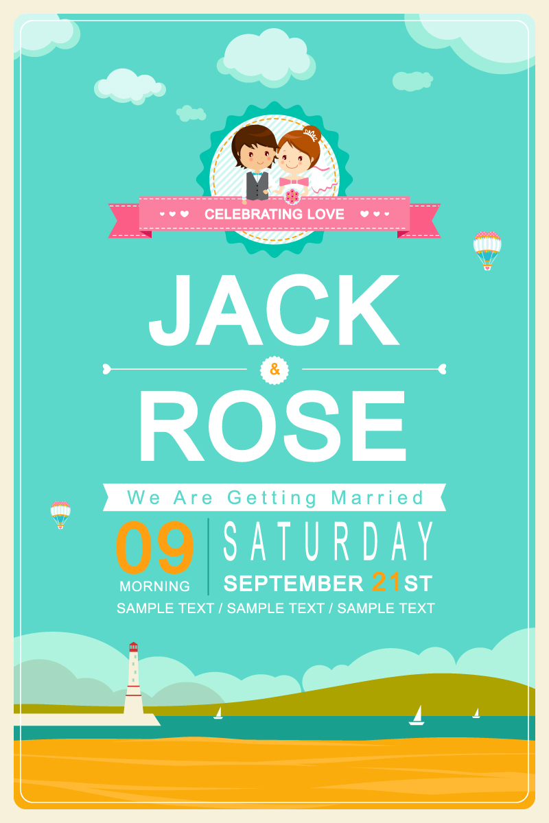 Wedding Day Cartoon Invitation Card Vector