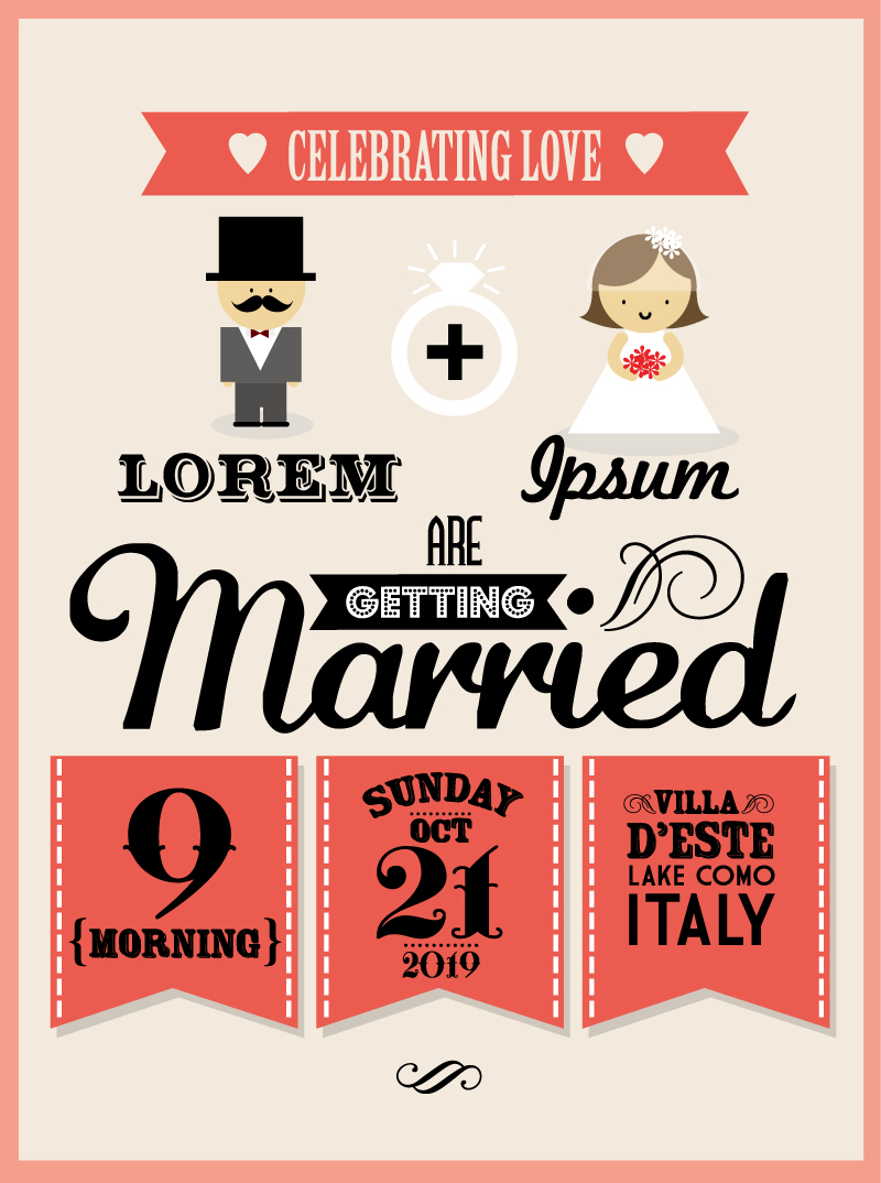 Wedding Day Celebrating Love Vector