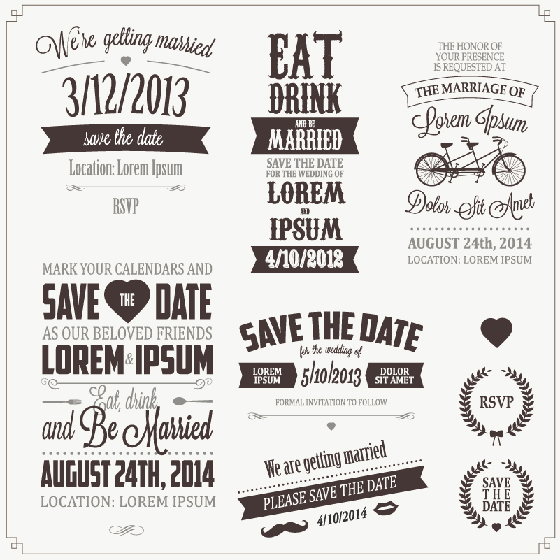 Wedding Day Gray Stickers Vector
