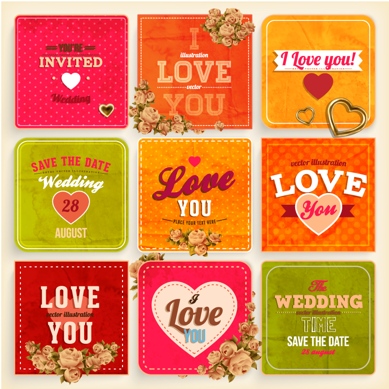 Wedding Day Retro Invitations Cards Vector