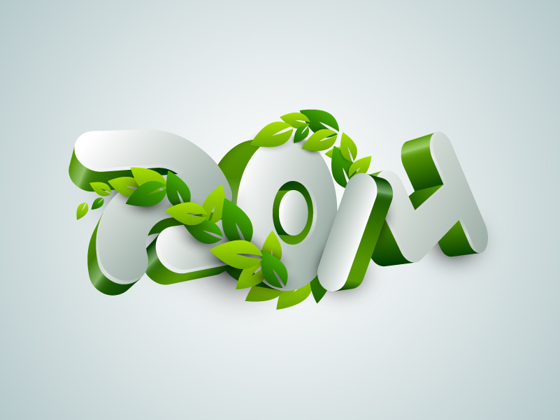2014 3D Green Leaves Design Vector
