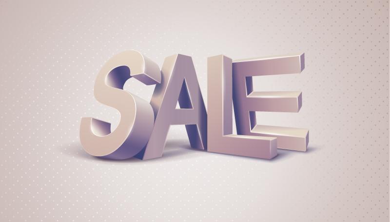 3D Sale Font Effect Vector