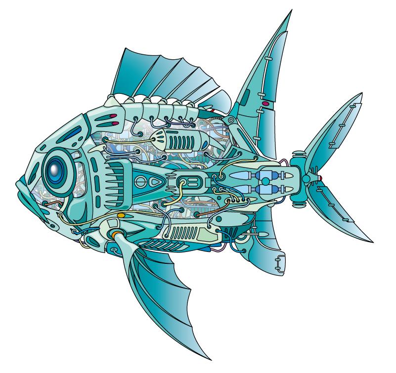 Blue Machine Fish Vector