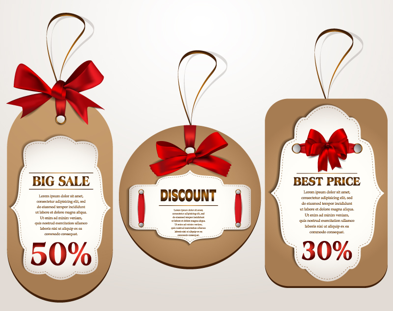 Bow Discount Tag Vector
