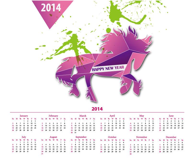 Calendar 2014 Abstract Horse Vector