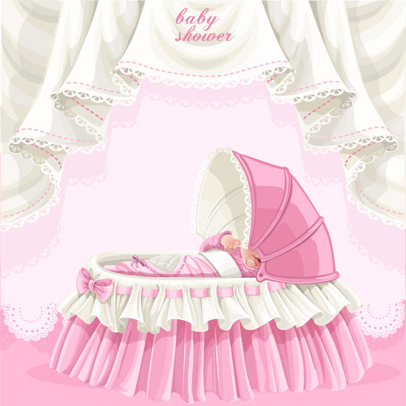 Cartoon Baby Cradle Vector