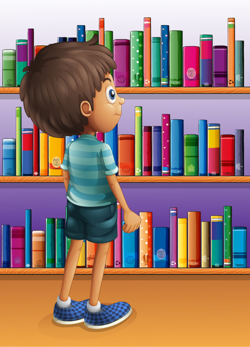 Cartoon Bookshelf with Boys Vector