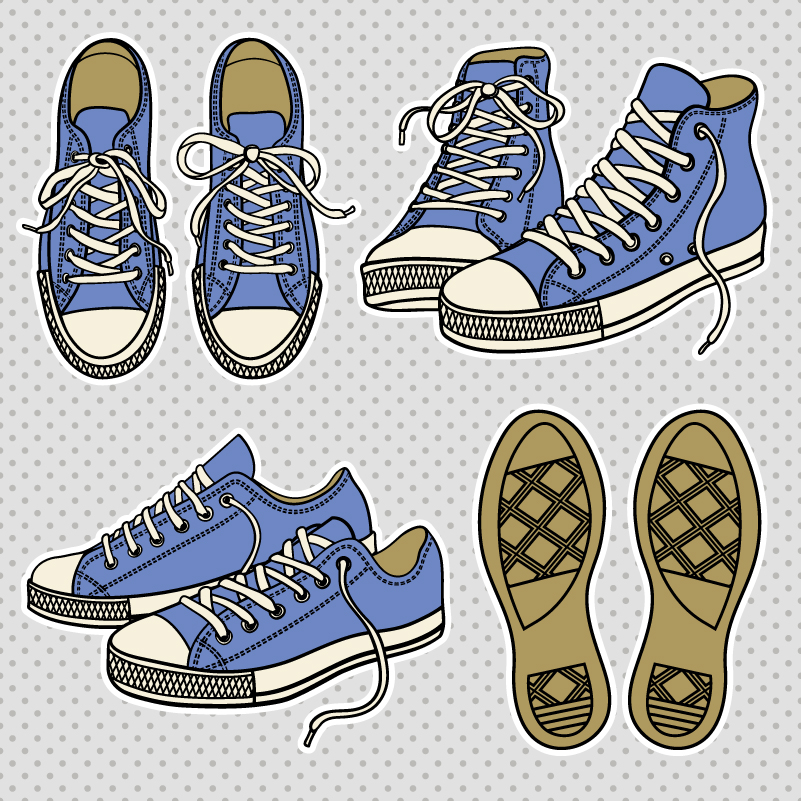 Cartoon Design Canvas Shoes Vector