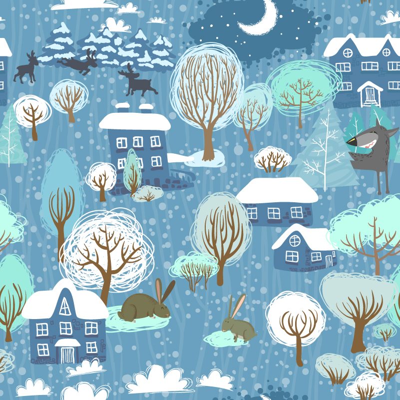 Cartoon Moonlight Village Vector