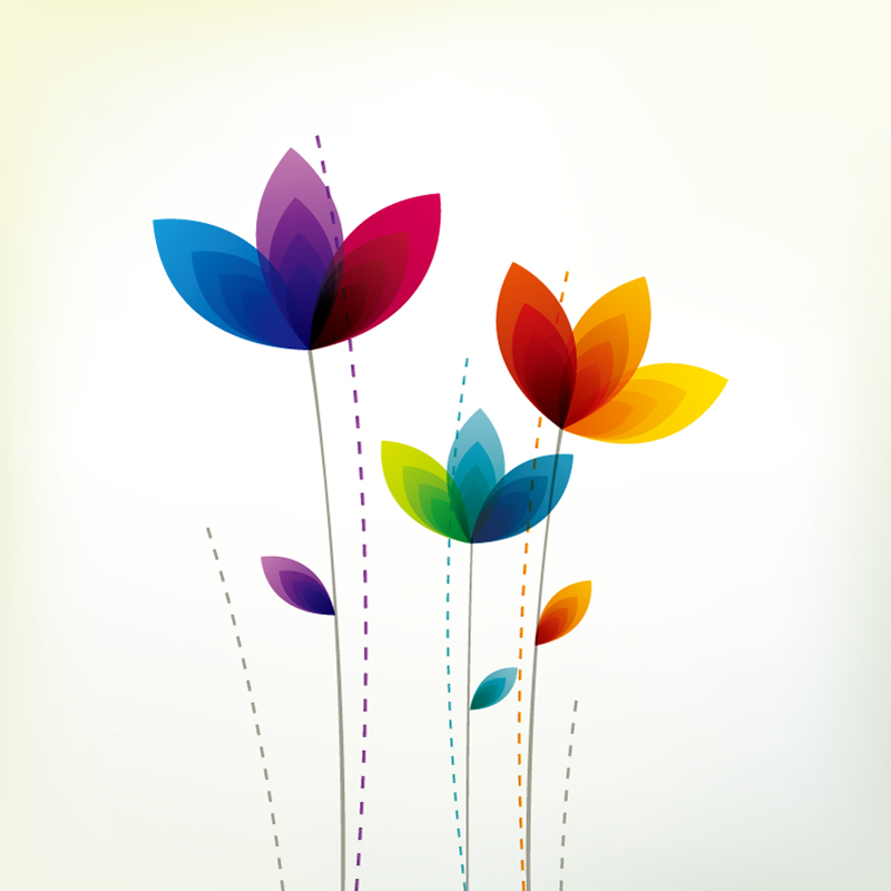 Colorful Abstract Flower Petals Vector