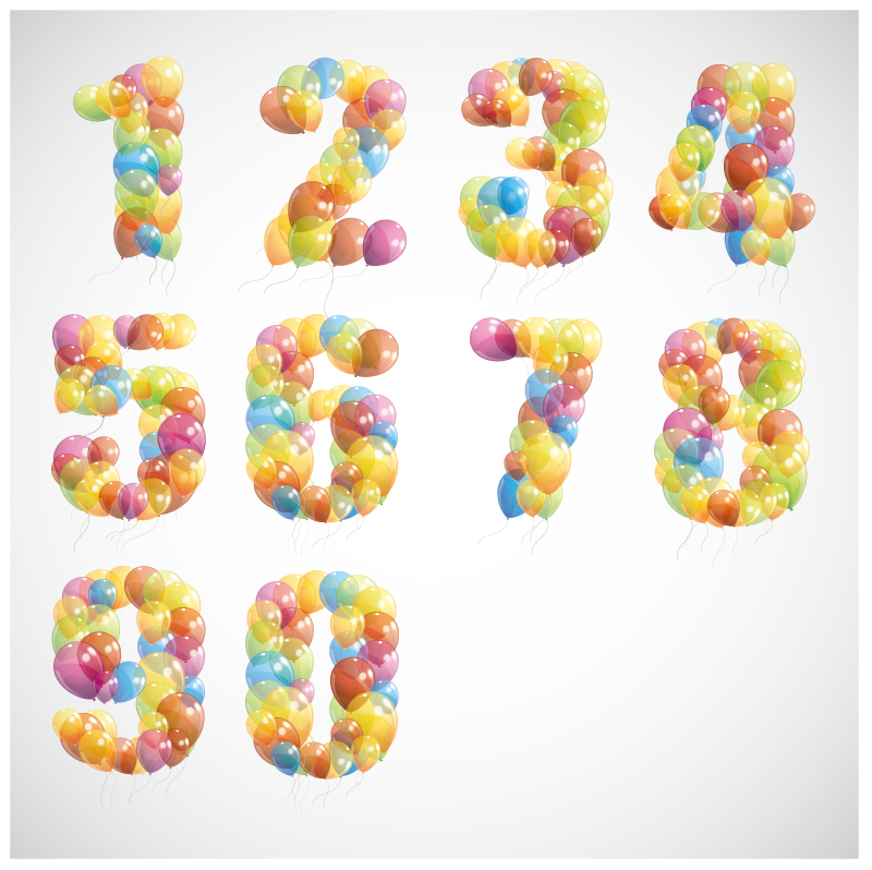 Digital Colorful Balloons Vector