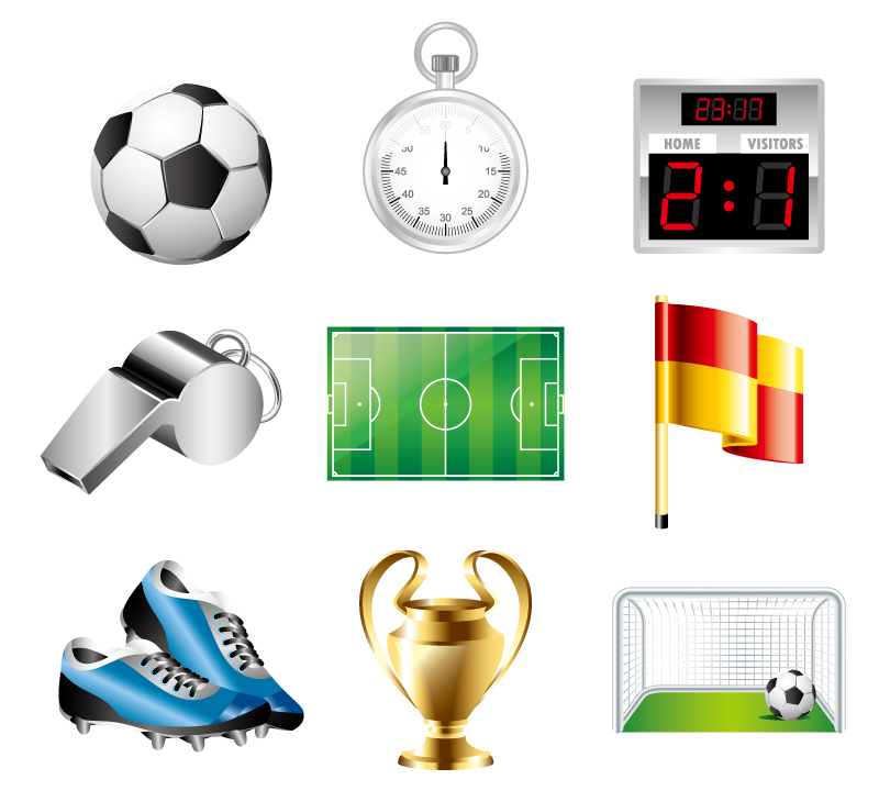 Football Field Icon Set Vector