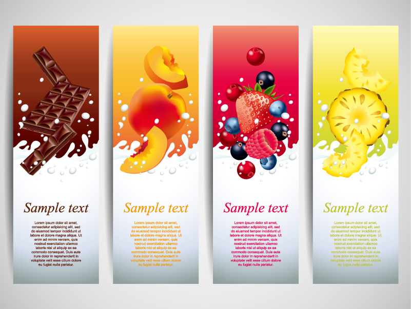 Fruit Yogurt Banner Design Vector