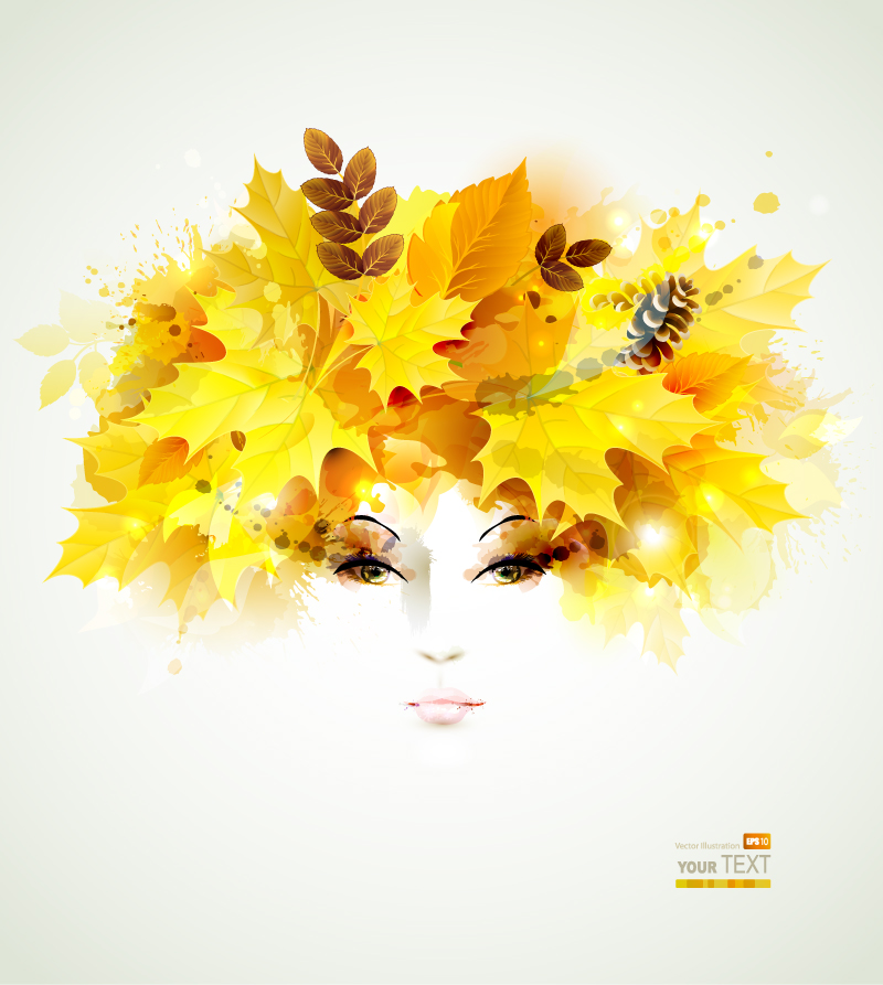 Golden Leaves Woman Picture Book Vector