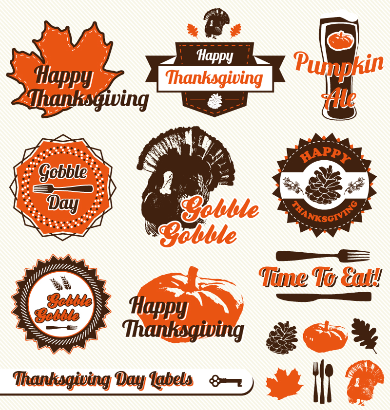 Happy Thanksgiving Day Gobble Labels Vector