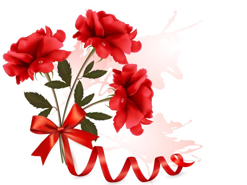Ribbon Roses Bouquet Vector
