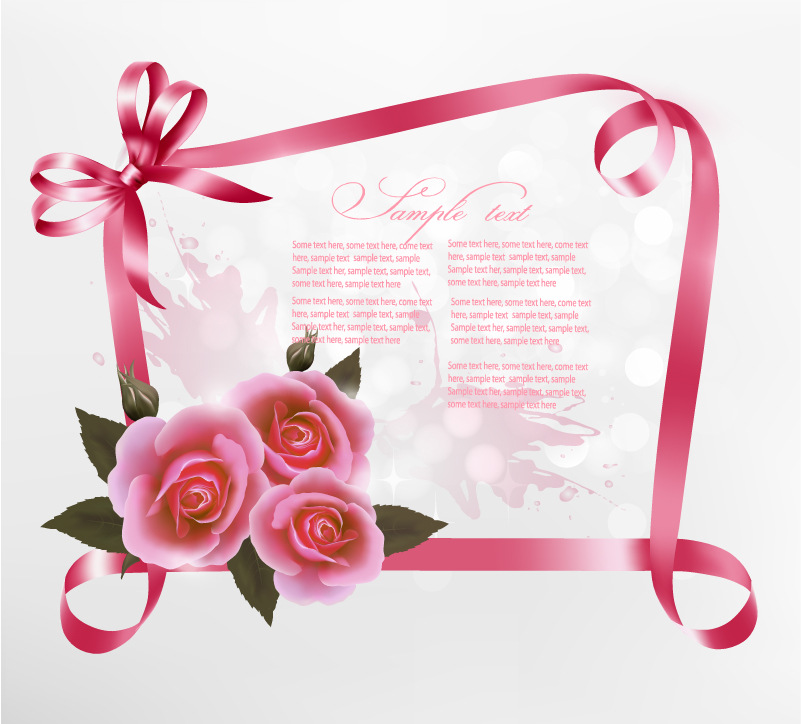 Rose Ribbon Background Vector