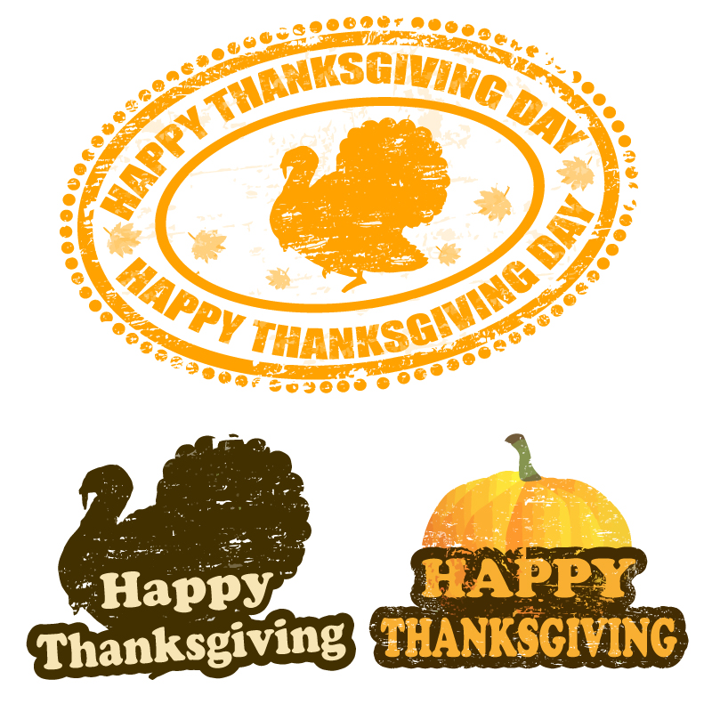 Thanksgiving Day Pumpkins and Turkeys Vector