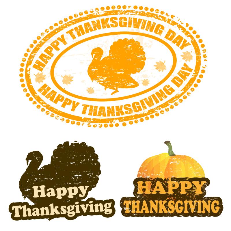 Thanksgiving Day Pumpkins and Turkeys Vector