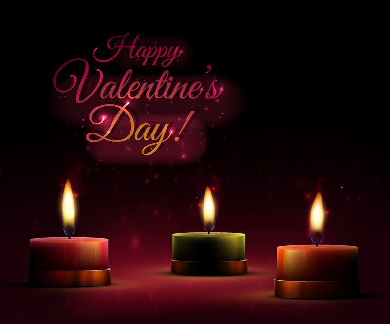 Valentine's Day Candle Light Vector
