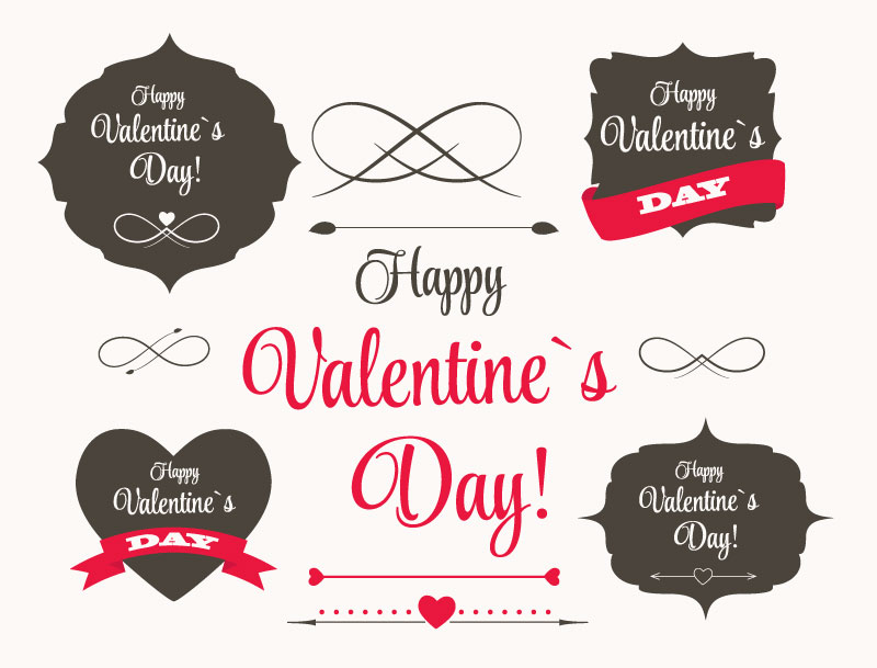 Valentine's Day Gray Red Design Vector