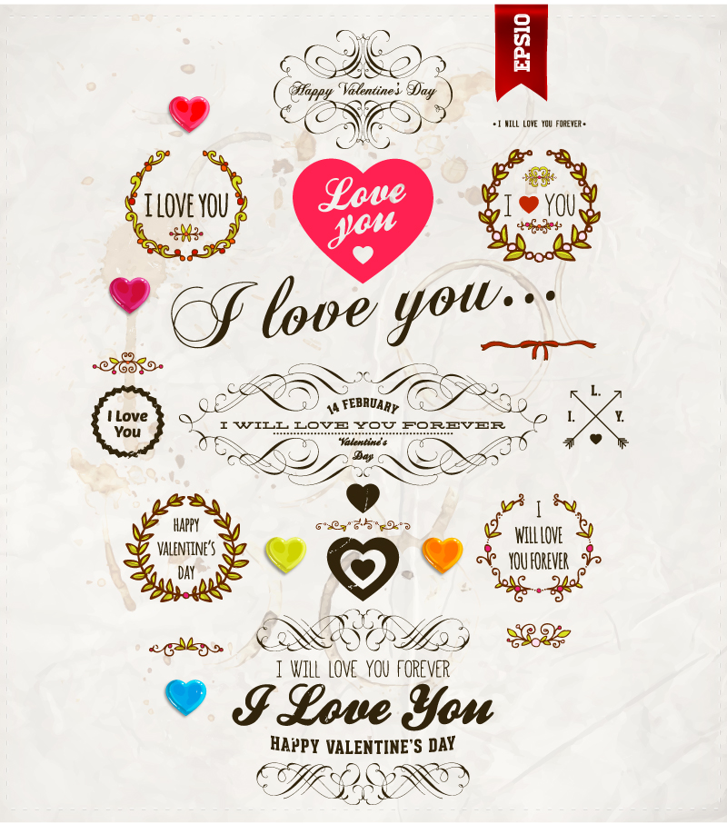 Valentine's Day Heart Labels Vector