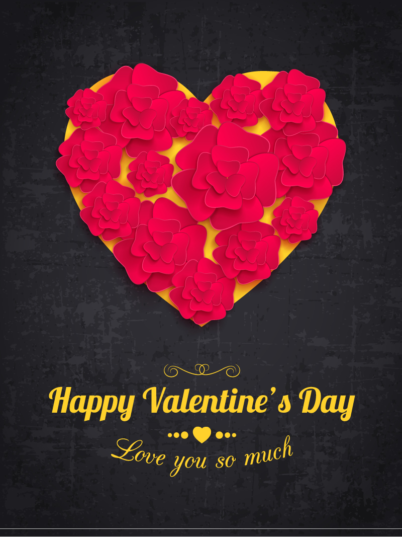 Valentine's Day Paper Roses Vector