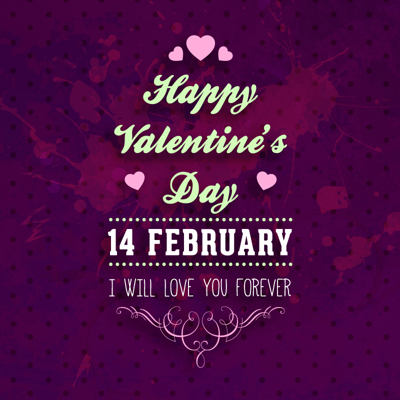 Valentine's Day Purple Design Vector