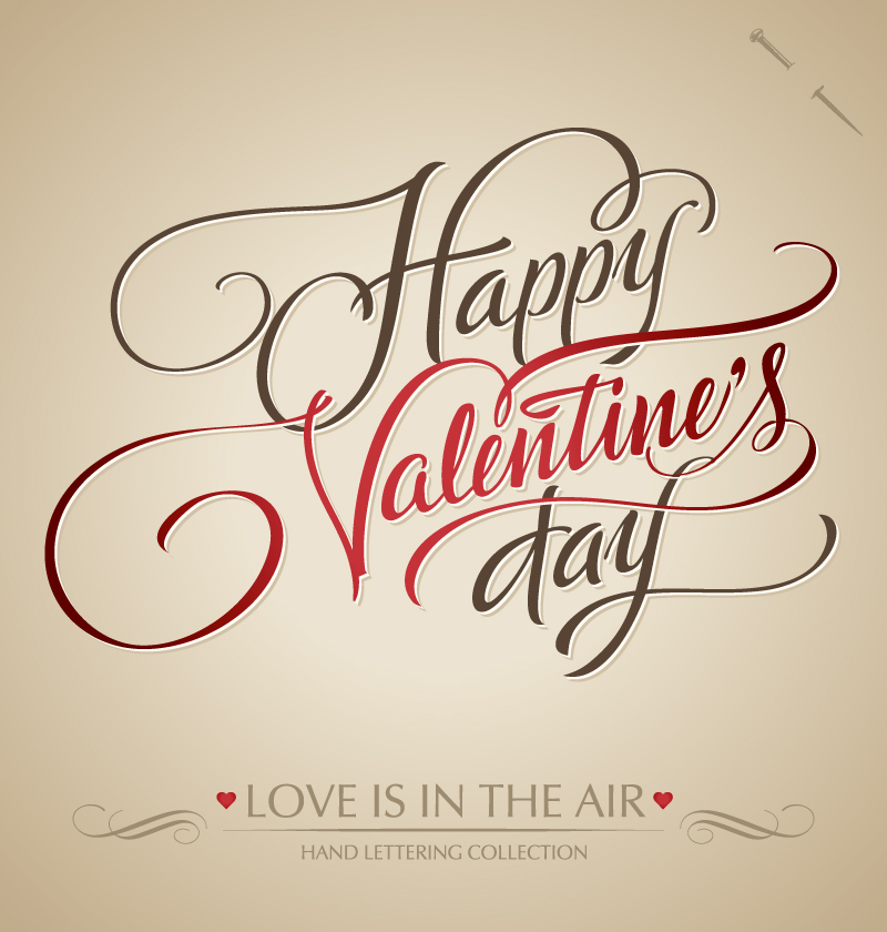 Valentine's Day Word Art Vector