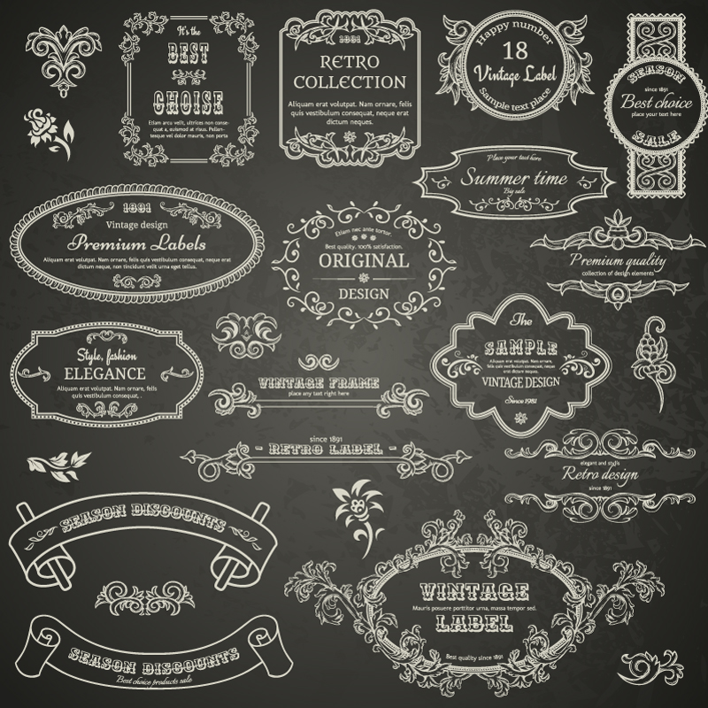 Wedding Day Retro Lace Label Vector