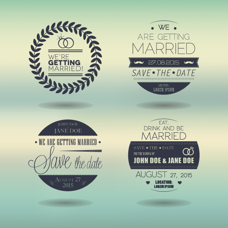 Wedding Day Round Stamps Vector