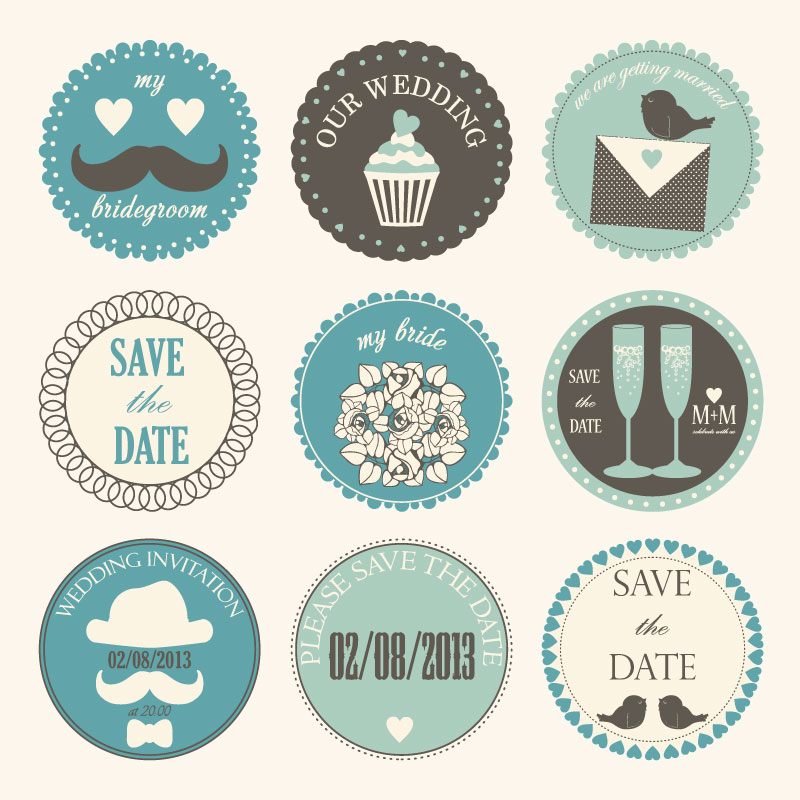 Wedding Day Vintage Label Vector