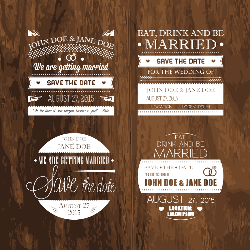Wedding Day Wood Stamps Vector