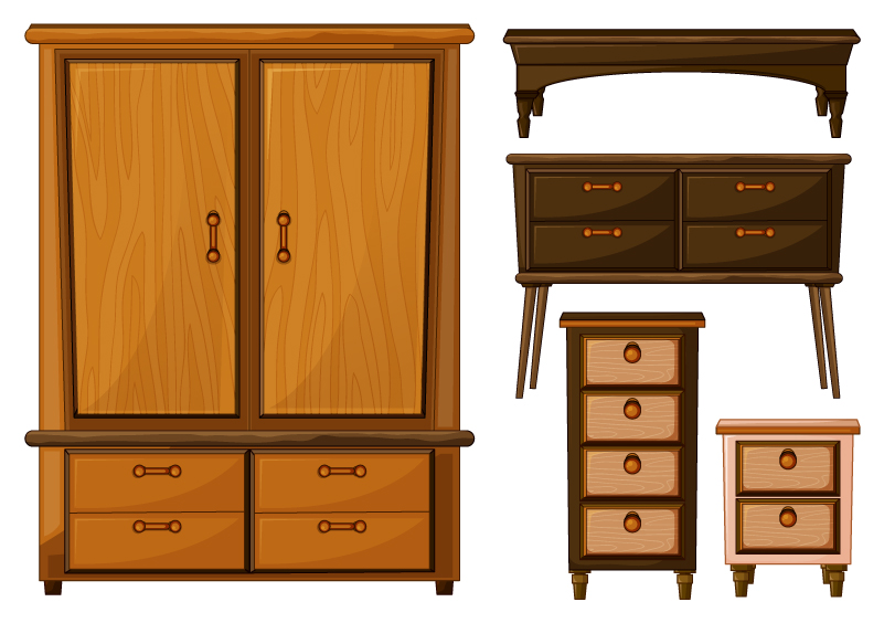 Wooden Wardrobe Vector