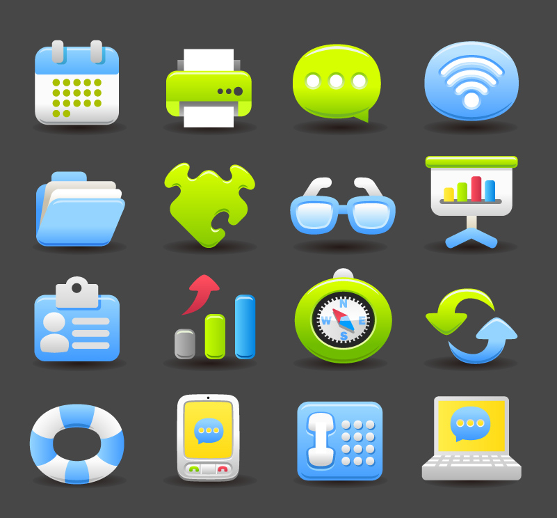 16 Beautiful Business Icons Vector