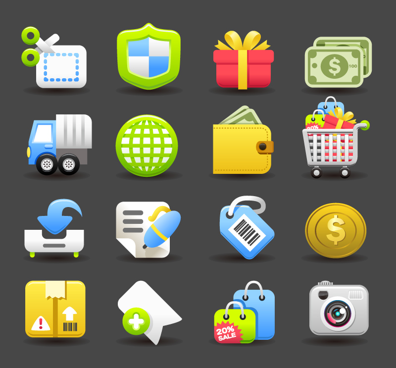 16 Exquisite Online Shopping Icons Vector