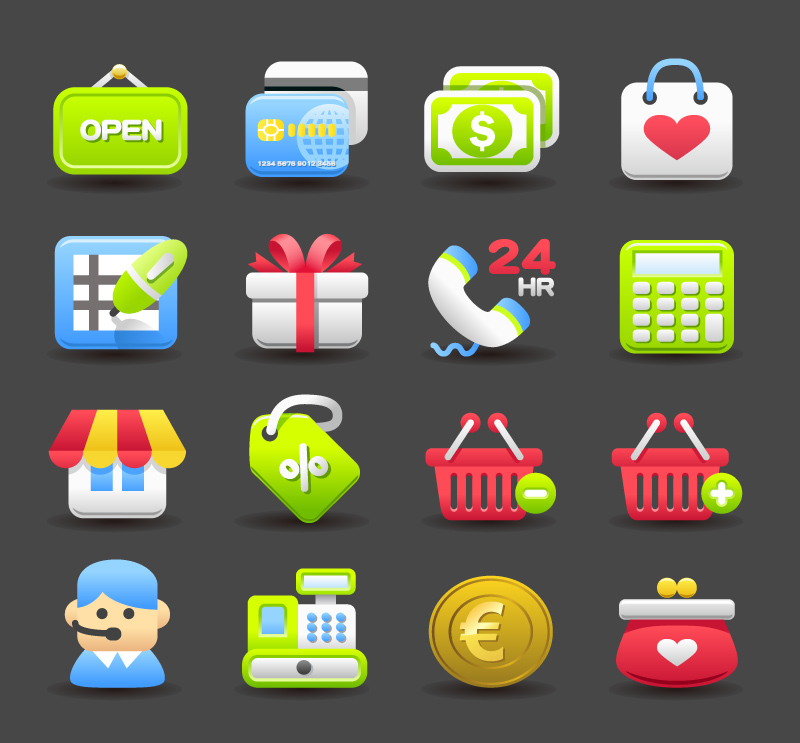 16 Exquisite Shopping Icons Vector