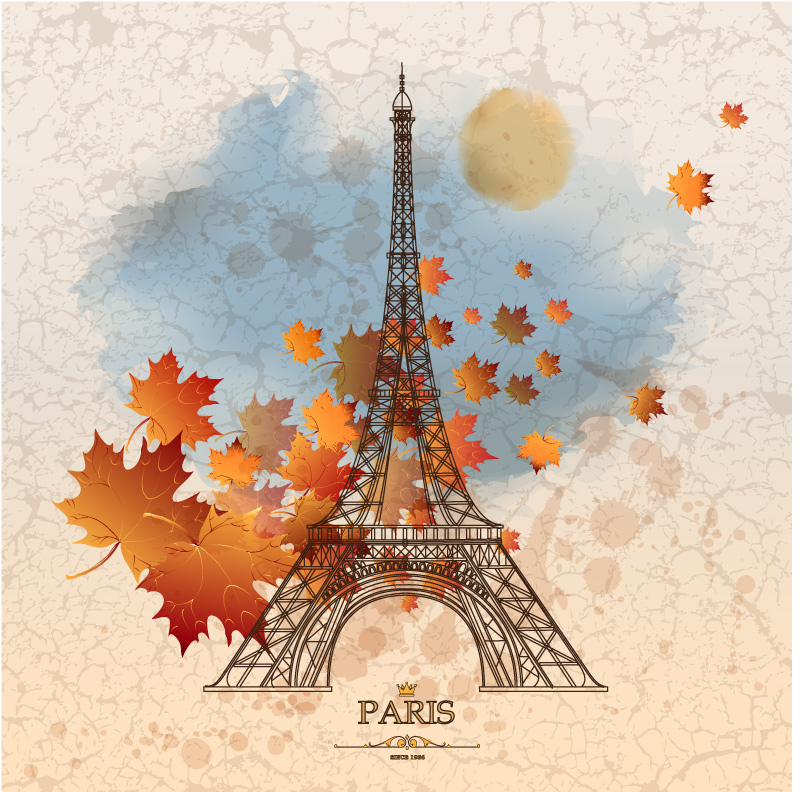 Autumn Paris Eiffel Tower Vector