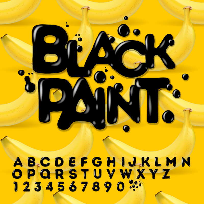 Black Paint Font Design Vector