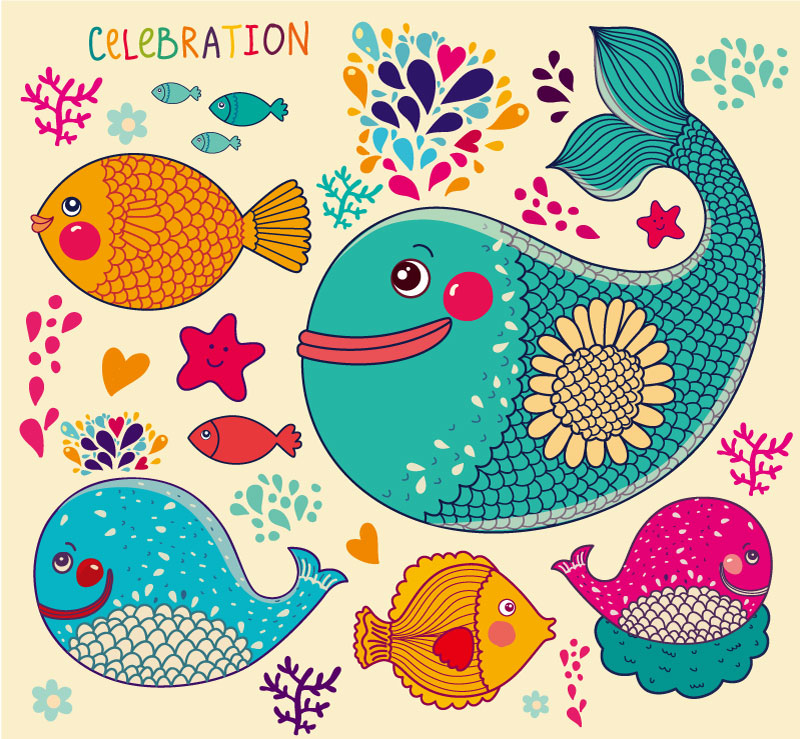 Cartoon Celebration Fish Vector