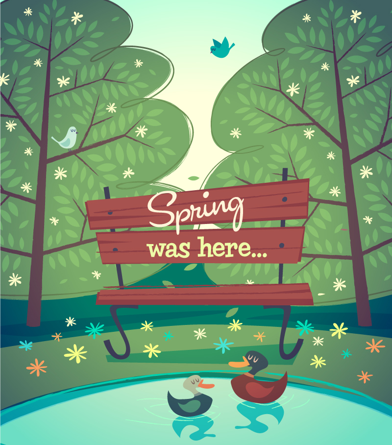 Cartoon Spring Park Bench Vector