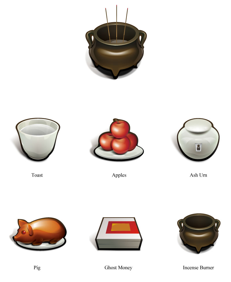 Ching Ming Elements Icon Vector
