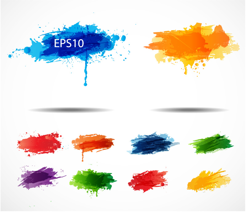 Color Ink Splashes Vector