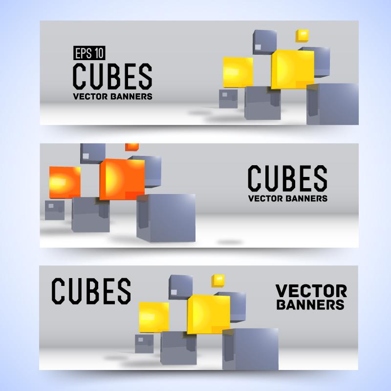 Cubes Banner Vector