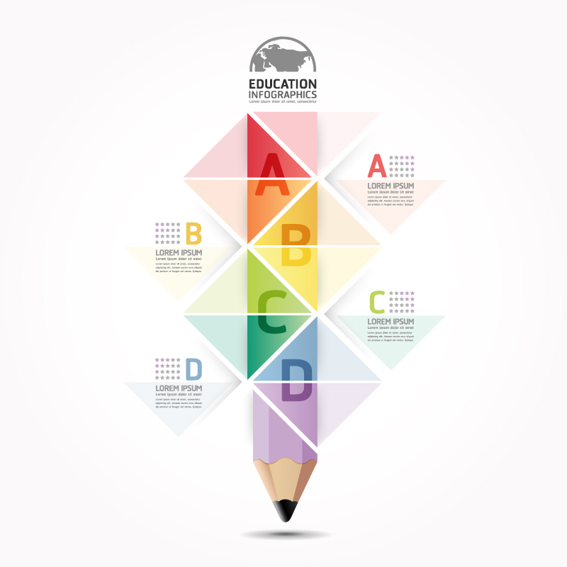 Education Infographics Color Pencil Vector