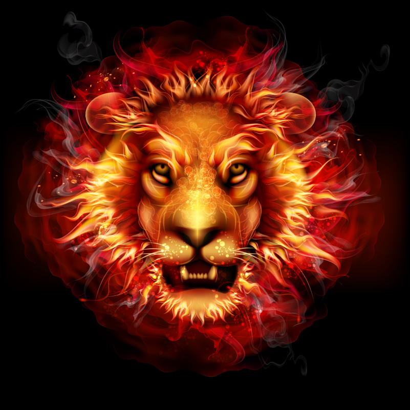 Fire Lion Avatar Vector